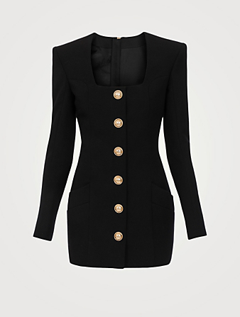 BALMAIN Wool Long-Sleeve Mini Dress Women's Black