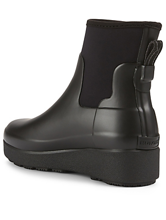 HUNTER Neoprene And Rubber Creeper Chelsea Rain Boots Women's Black