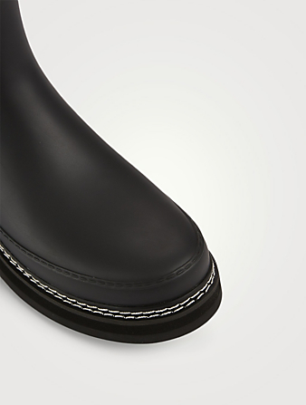 HUNTER Stitch Detail Rubber Chelsea Rain Boots Women's Black