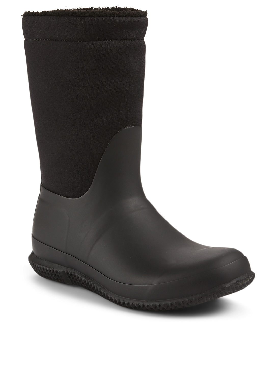 HUNTER Original Insulated Roll Top Neoprene And Rubber Rain Boots With Sherpa Lining Women's Black