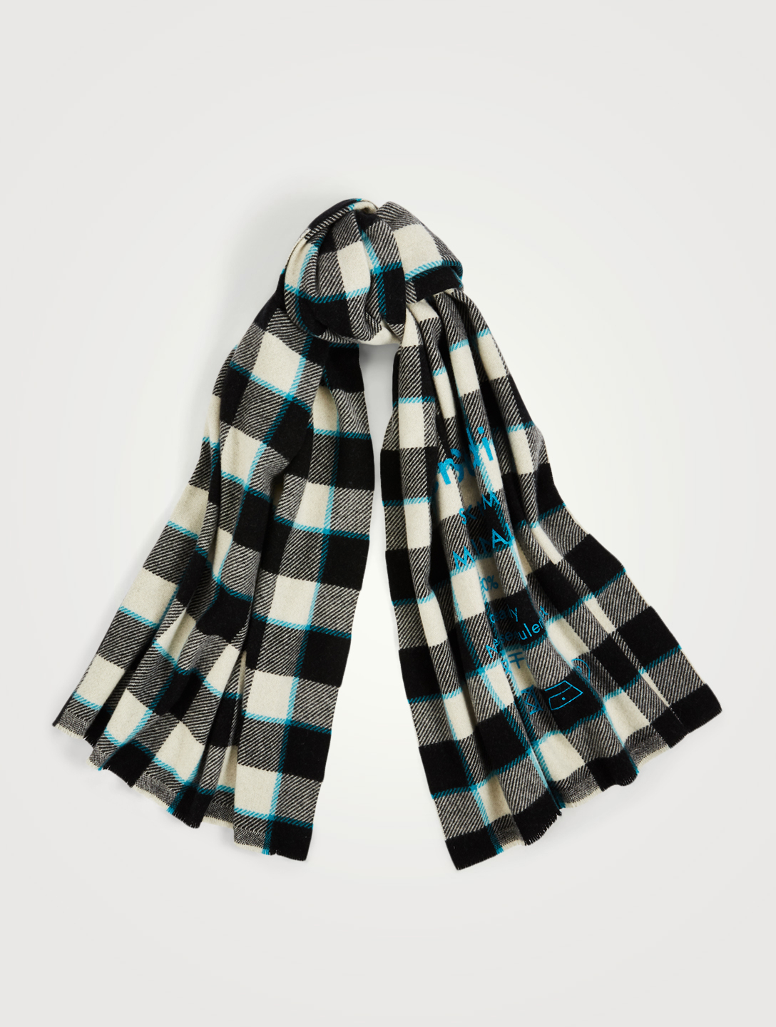 ACNE STUDIOS Checked Wool Logo Scarf Women's Multi