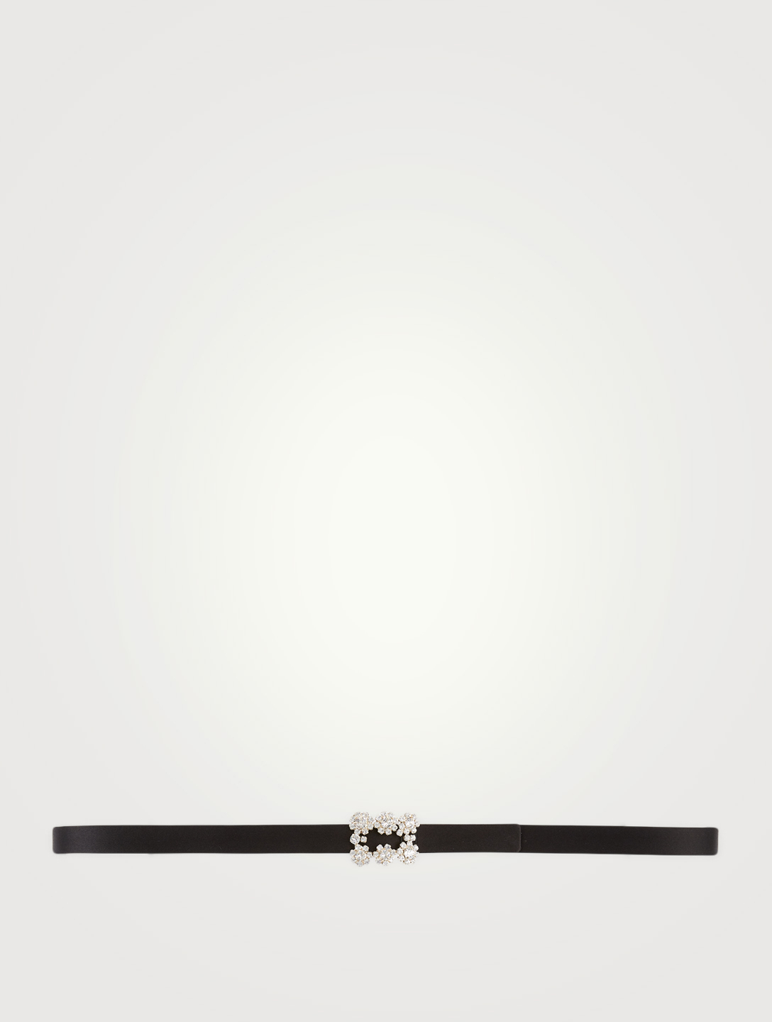 ROGER VIVIER Strass Flower Buckle Silk Satin Belt Women's Black