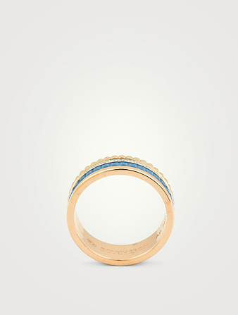 BOUCHERON Small Blue Edition Quatre Gold Ring With Ceramic And Diamonds Women's Metallic