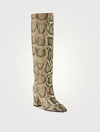 PARIS TEXAS Leather Heeled Knee-High Boots In Python Print Women's Neutral