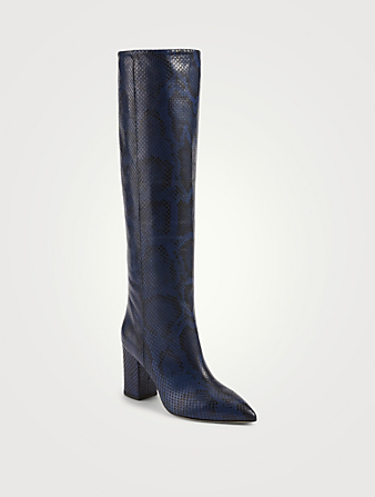 PARIS TEXAS Leather Heeled Knee-High Boots In Python Print Women's Blue