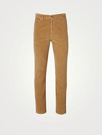 GUCCI Washed Velvet Corduroy Pants Men's Beige