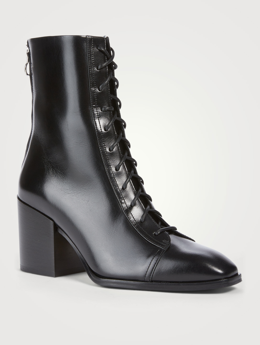 AEYDE Lotta Leather Heeled Lace-Up Ankle Boots Women's Black