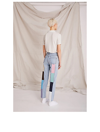 STILL HERE Pastel Rainbow Tate Crop Jeans Women's Blue