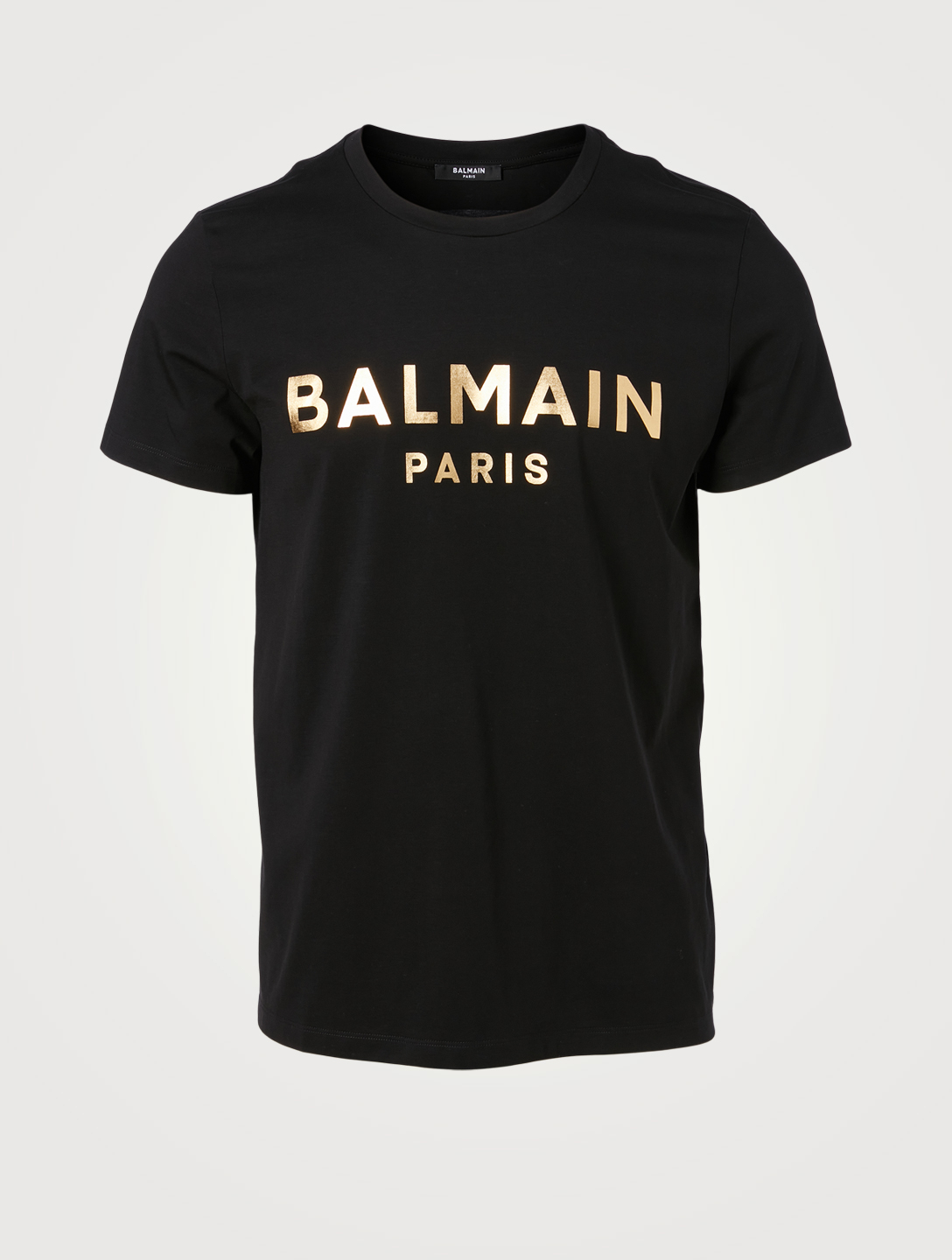 BALMAIN Cotton T-Shirt With Foil Logo Men's Black
