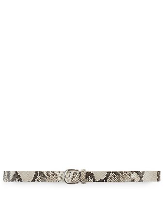 ISABEL MARANT Zap Snake-Embossed Leather Belt Women's White