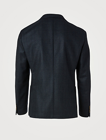 ELEVENTY Wool Jacket In Windowpane Print Men's Blue