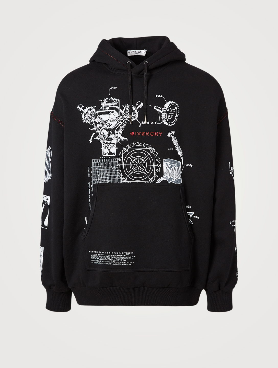 GIVENCHY Oversized Hoodie With Schematics Logo Men's Black