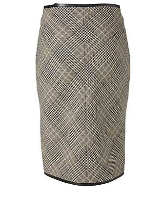 SAINT LAURENT Wool Pencil Skirt In Prince De Galles Print Women's Multi