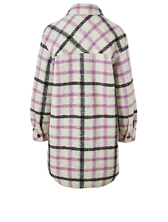 SAMSØE SAMSØE Galatea Wool-Blend Overshirt In Check Print Women's Purple