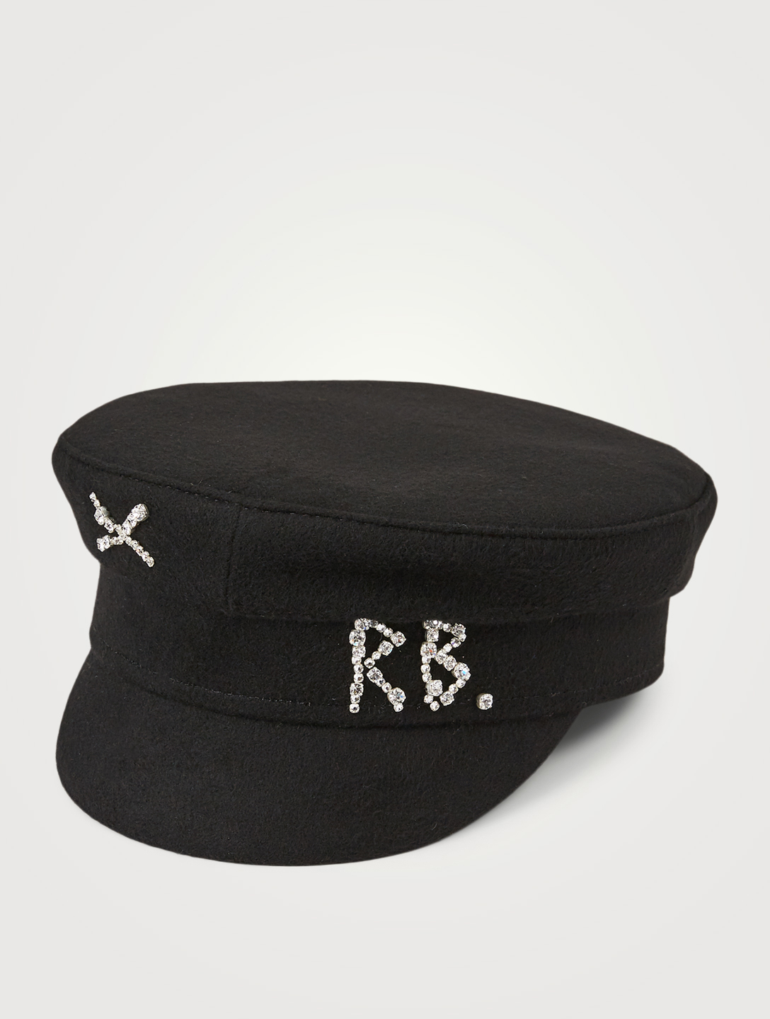 RUSLAN BAGINSKIY Wool Baker Boy Cap With Crystal Logo Women's Black