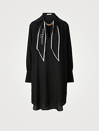 GIVENCHY Silk Crepe de Chine Shirt Dress With Logo Scarf Women's Black