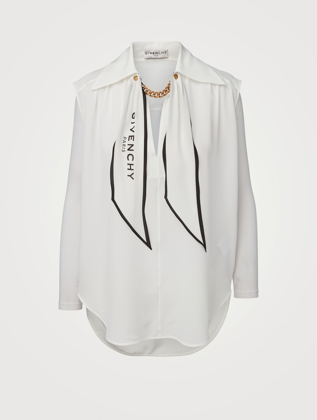 GIVENCHY Silk Crepe de Chine Blouse With Chain & Logo Scarf Women's White