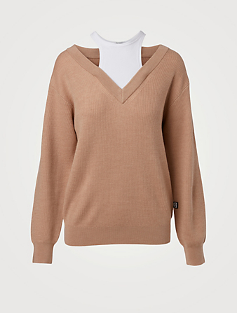 ALEXANDERWANG.T Wool Sweater With Tank Layer Women's Brown