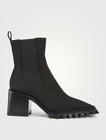 ALEXANDER WANG Parker Stretch Nylon Lug Heeled Chelsea Boots Women's Black