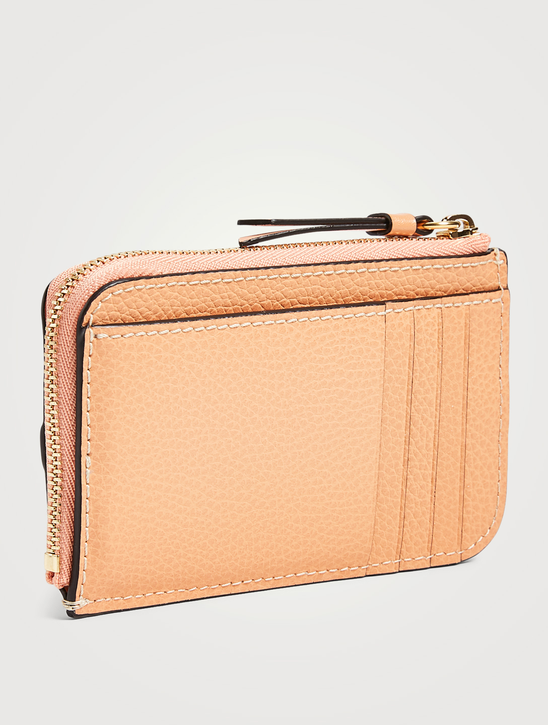 CHLOÉ Small Darryl Leather Card Holder Women's Orange