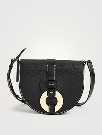 CHLOÉ Darryl Leather Crossbody Saddle Bag Women's Black