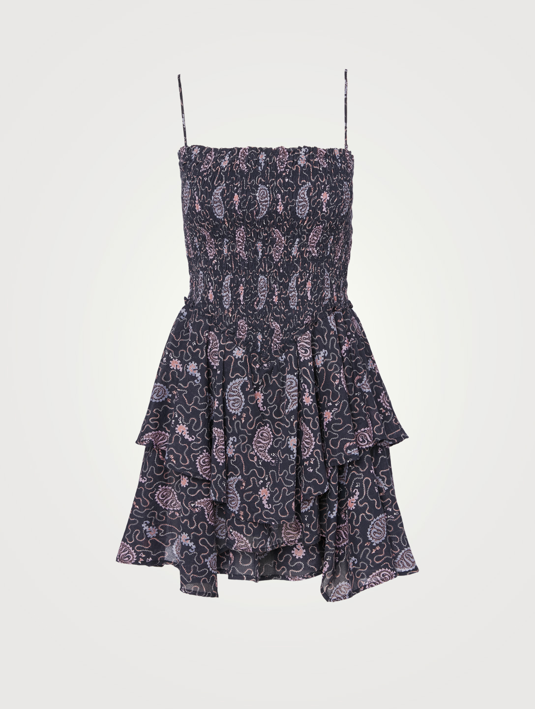 ISABEL MARANT ÉTOILE Anka Smocked Mini Dress In Paisley Print Women's Blue