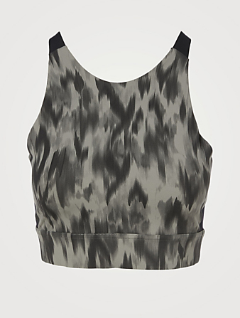 VARLEY Sherman Sports Bra In Watercolour Aztek Animal Print Women's Grey