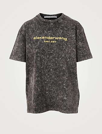 ALEXANDER WANG Acid Washed T-Shirt With Logo Women's Black