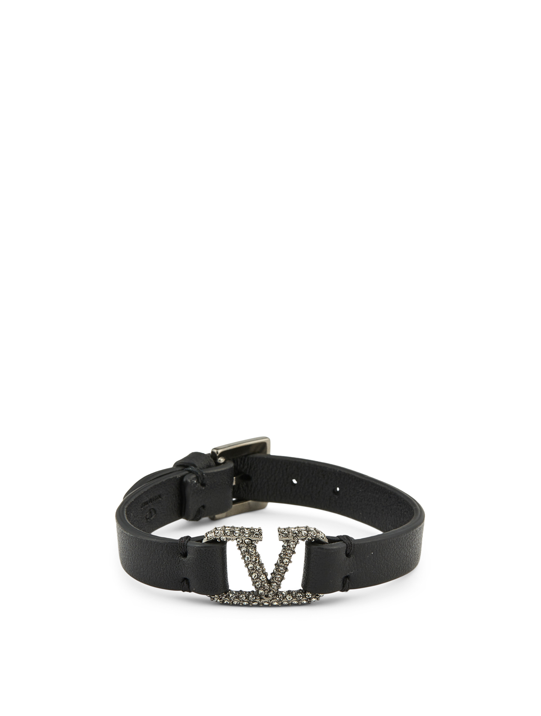 VALENTINO GARAVANI VLOGO Leather Bracelet With Crystals Women's Black