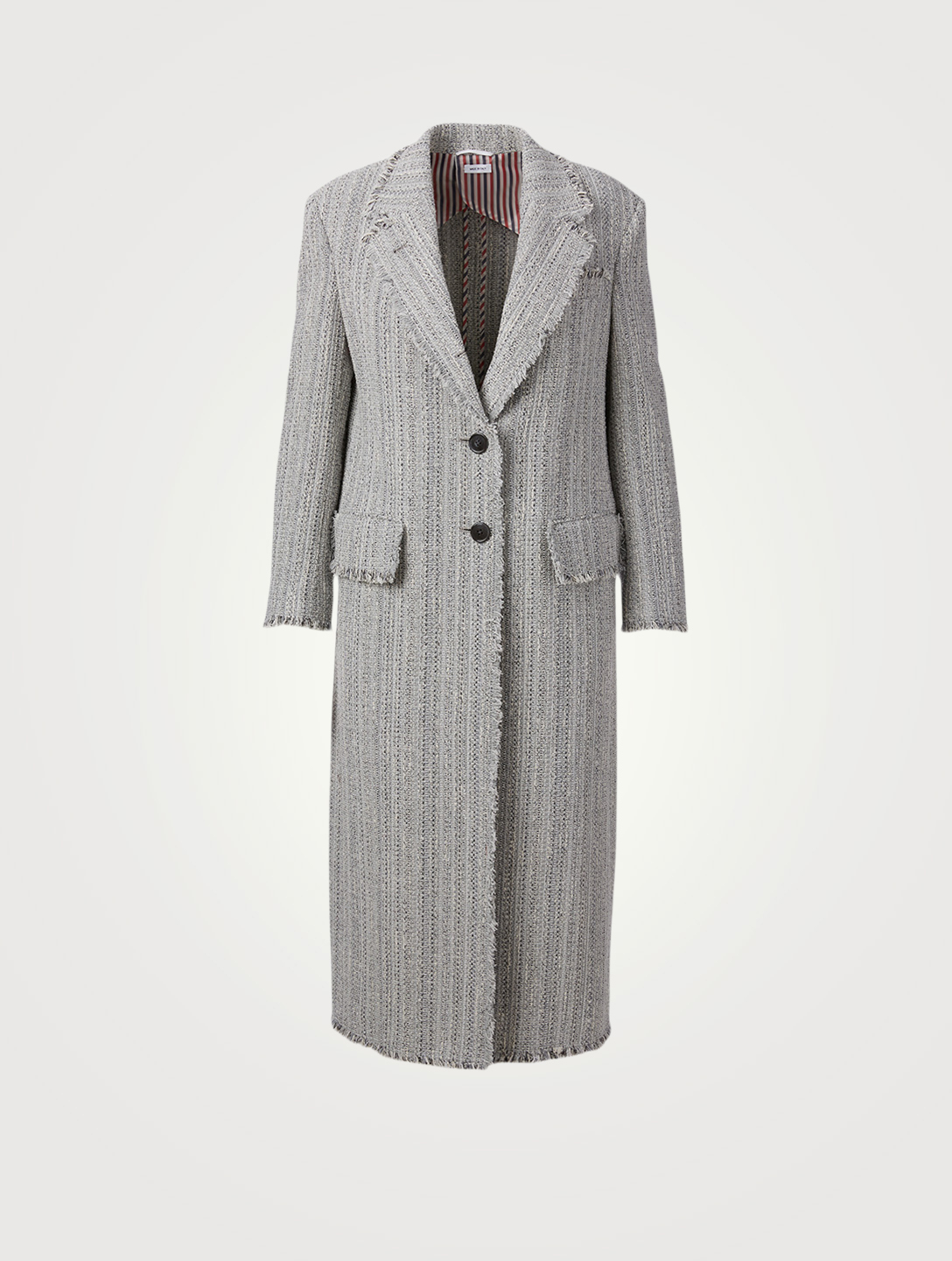 THOM BROWNE Cotton Tweed Frayed Long Coat Women's Grey