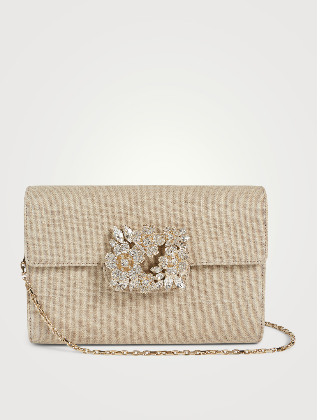 ROGER VIVIER Mini RV Bouquet Strass Linen Envelope Clutch Bag Women's White