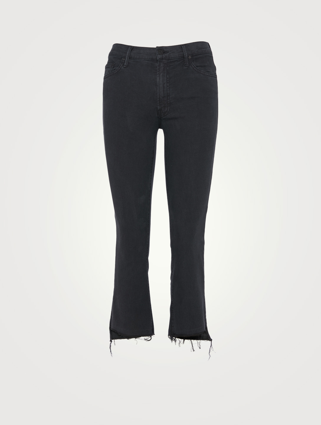 MOTHER Insider Crop Jeans With Step Fray Women's Black