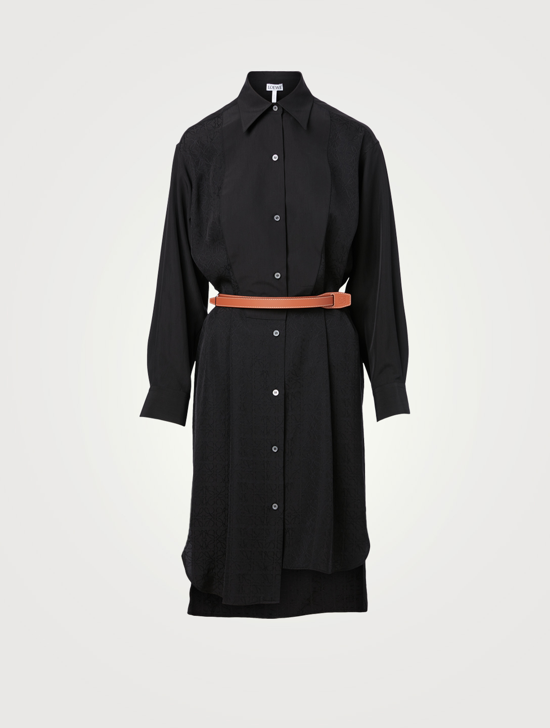 LOEWE Silk Anagram Shirt Dress With Leather Belt Women's Black
