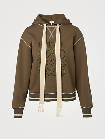 LOEWE Cotton Hoodie With Anagram Embroidery Women's Green