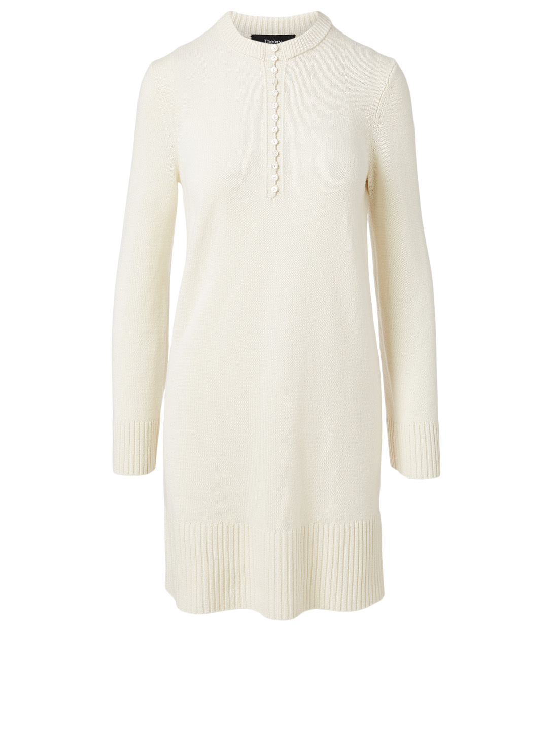 THEORY Cashmere Long-Sleeve Henley Dress Women's White