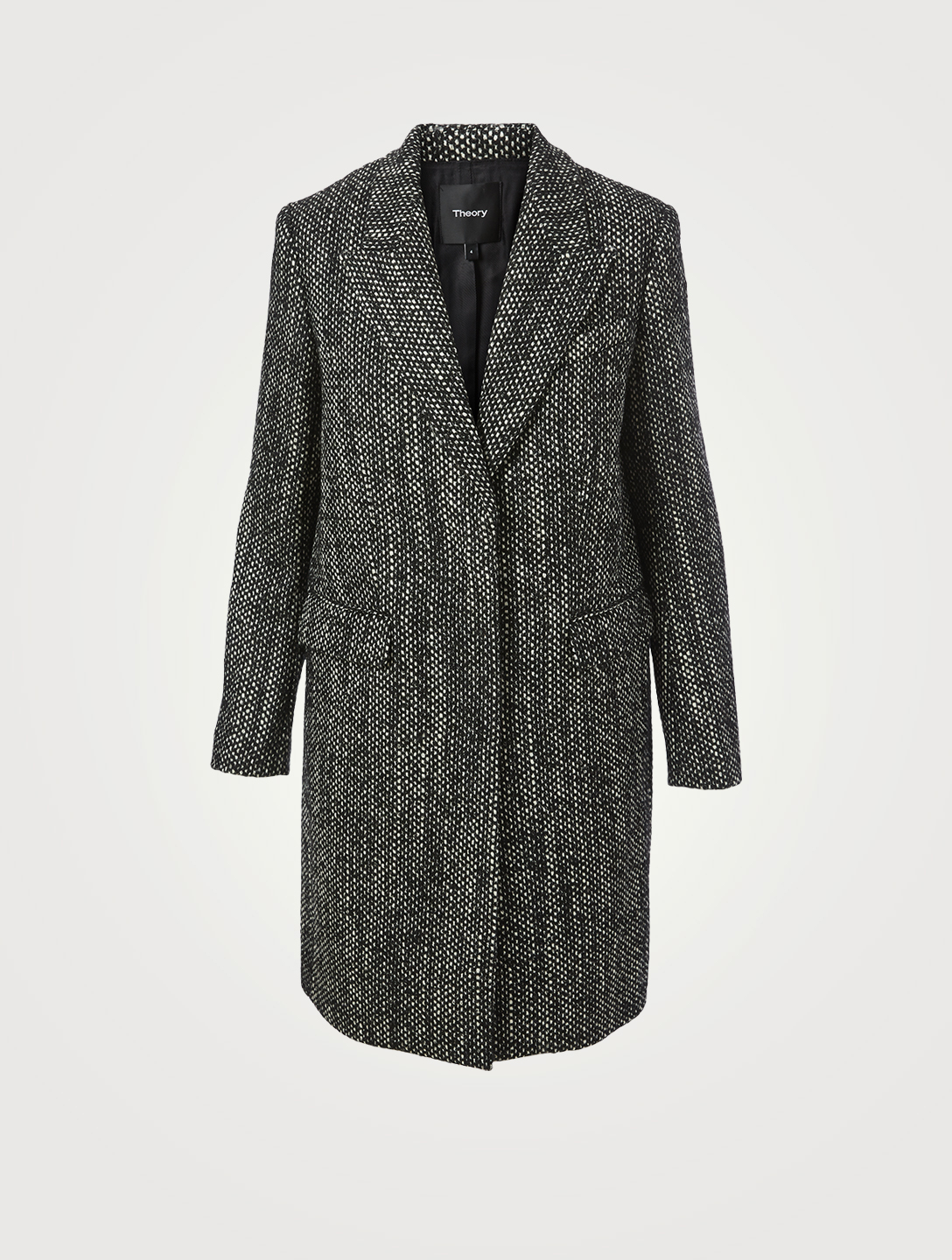 THEORY Pressed Tweed Midi Coat Women's Black