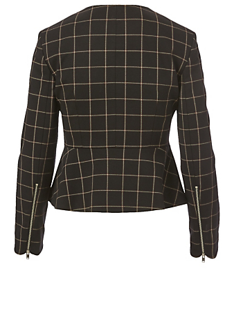 THEORY Peplum Jacket In Grid Print Women's Black