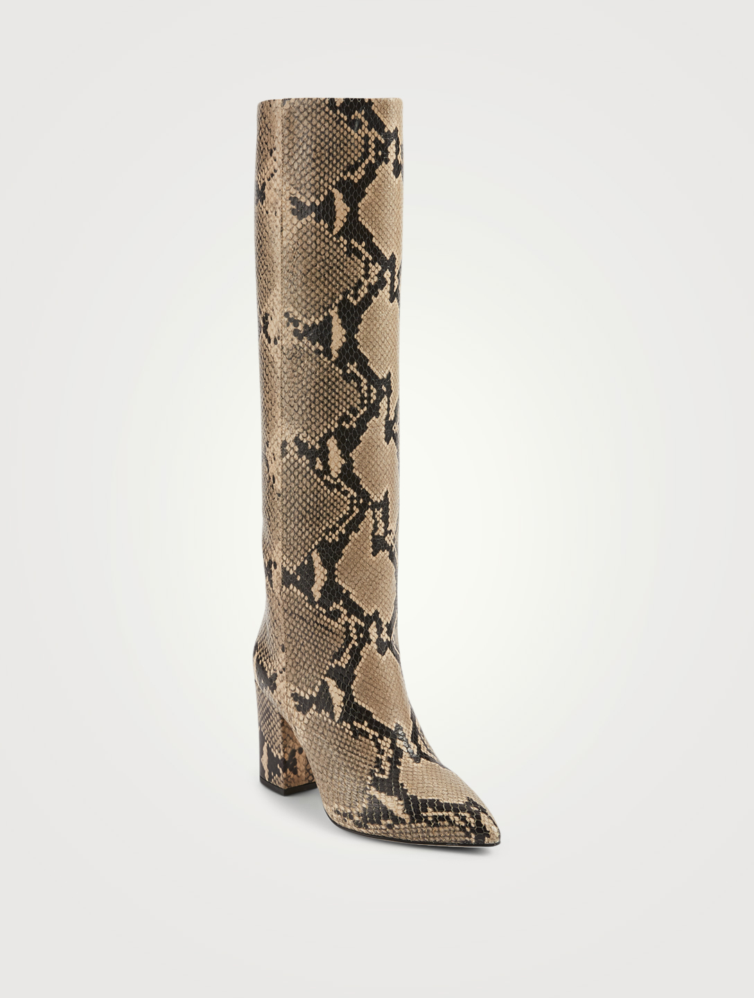 PARIS TEXAS Leather Heeled Knee-High Boots In Python Print Women's Beige