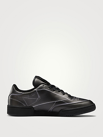 MAISON MARGIELA X REEBOK Project 0 Club C Trompe L'Oeil Leather Sneakers Women's Black