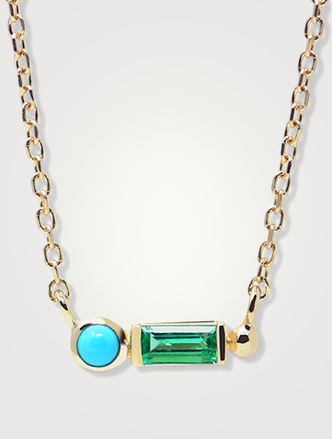 ANZIE Cléo 14K Gold Baguette Necklace With Emerald In Turquoise Women's Metallic