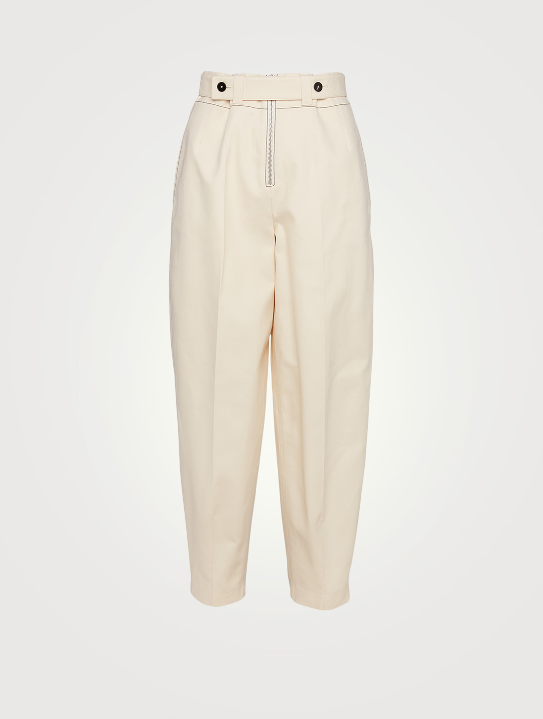 JIL SANDER Cotton Tapered Pants With Darted Ankle Women's Beige