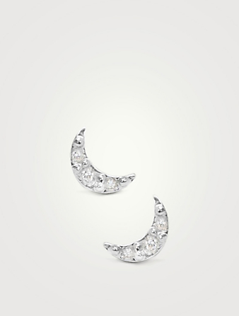 ANZIE Mini Aztec Silver Crescent Moon Stud Earrings With White Sapphire Women's Metallic