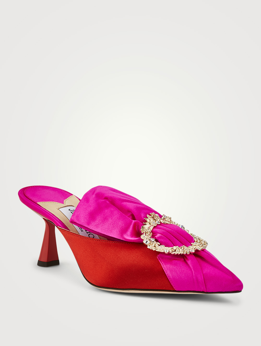 JIMMY CHOO Lulla 65 Satin Mules With Crystal Buckle Women's Pink
