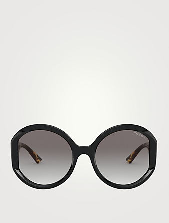 PRADA Monochrome Round Sunglasses Women's Black