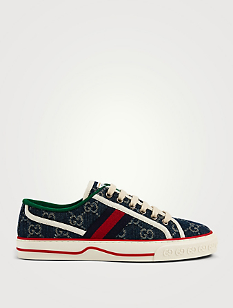 GUCCI Tennis 1977 Organic GG Jacquard Denim Sneakers Women's Blue