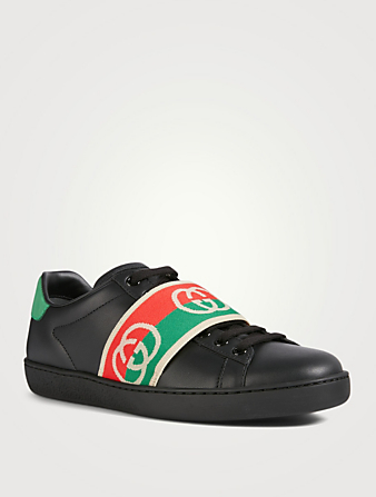 GUCCI Ace Leather Sneakers With Elastic Web Women's Black