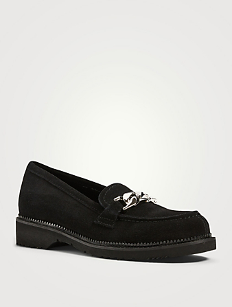 LA CANADIENNE Harriet Suede Loafers With Chain Women's Black