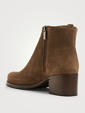 LA CANADIENNE Presley Suede Heeled Ankle Boots Women's Grey
