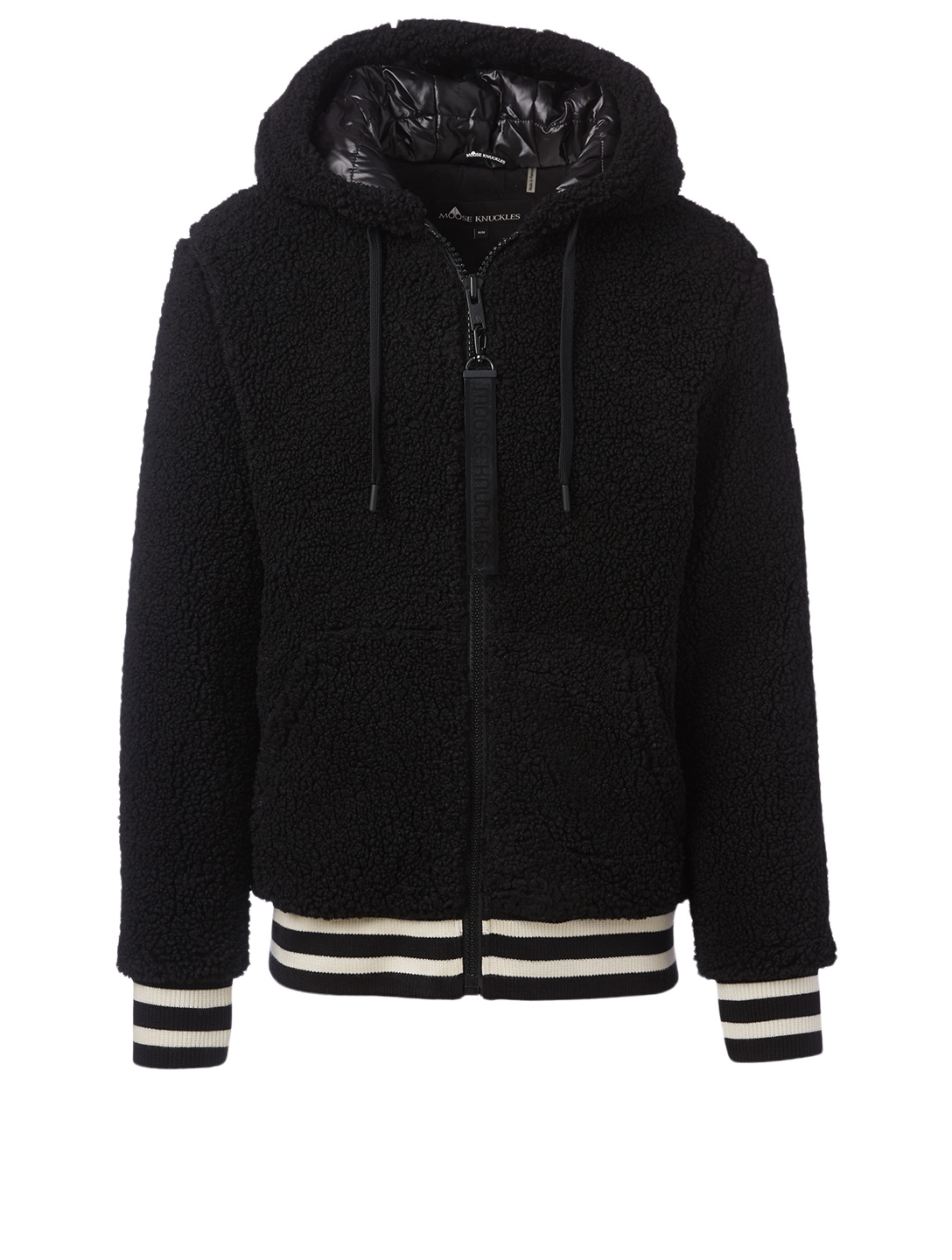 MOOSE KNUCKLES Dewson Sherpa Varsity Jacket With Hood Men's Black