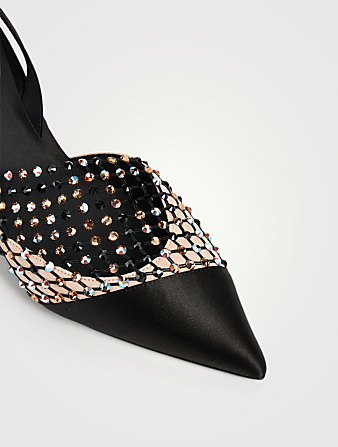 RENE CAOVILLA Galaxia 75 Satin And Crystal-Net Slingback Pumps Women's Black